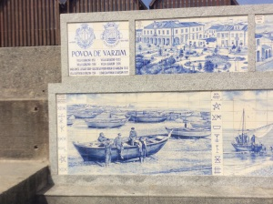 Tiles on harbour wall