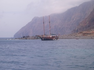 Desertas anchorage with a Dolphin watching boat