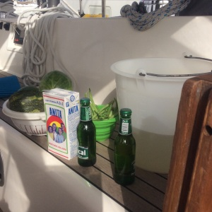 Washing the fruit and veg on deck. Of course we had to get that brand of milk